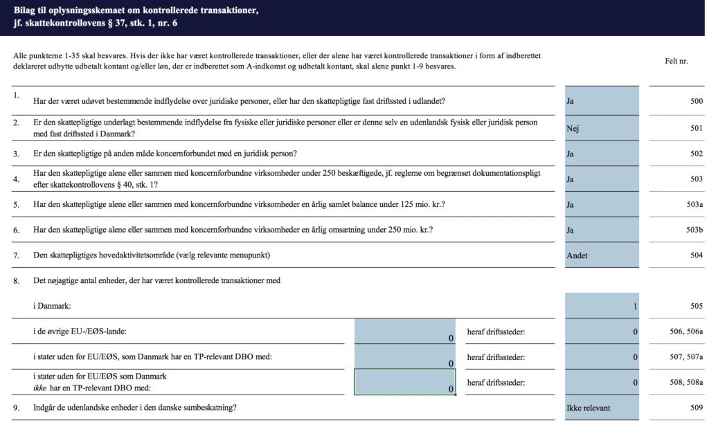 Bilag til kontrollerede transaktion 05021 - vejledning - felterne 1-9